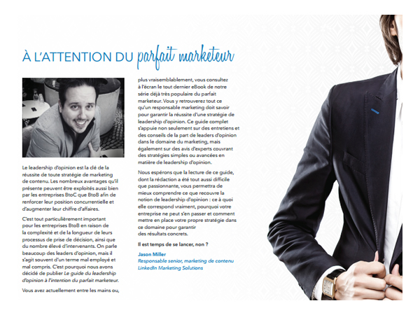 Propos de Jason Miller Livre Blanc Le guide du Leadership d'Opinion par Linkedin