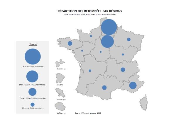 BAROMETRE_ELECTIONS_REGIONALES_2015_par_L'Argus_de_la presse_Répartition_des_retombées_par_régions