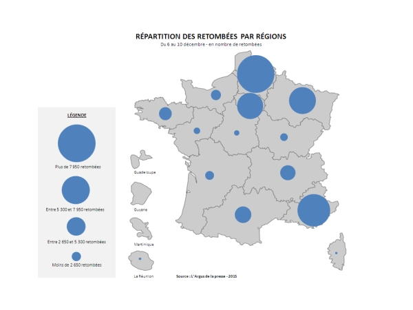 Répartition des retombées par régions 2ème tour par l'Argus de la presse